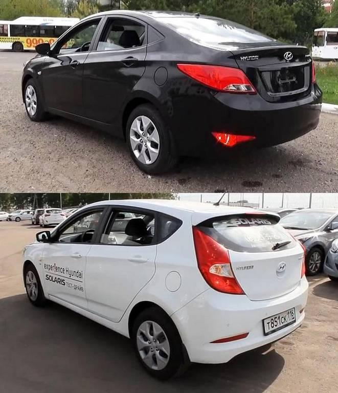 фото сравнение Hyundai Solaris 2015 хетчбек и седан